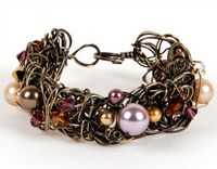 Wire Sculpture Cuff - Wirework Bracelet Jewellery Making Kit with SWAROVSKI® ELEMENTS crystal and pearl beads